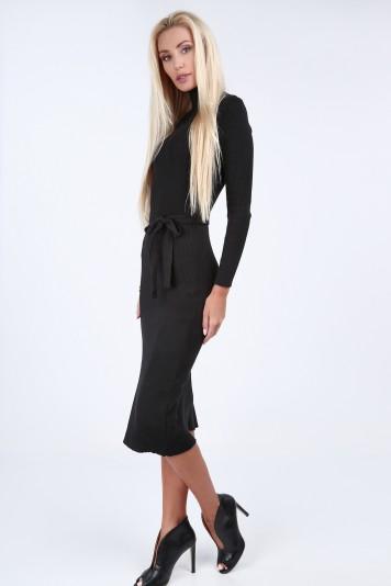 Czarna sukienka swetrowa z golfem 2008 343443750e4