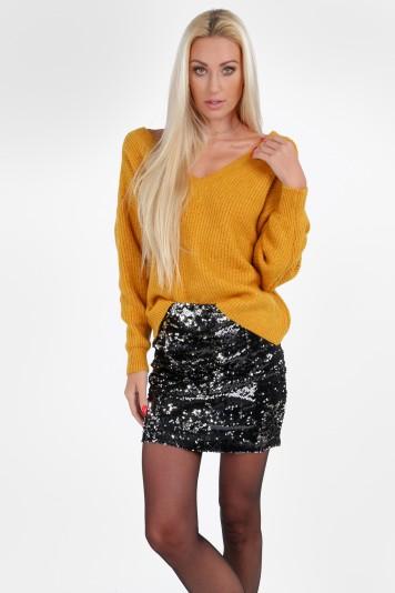 """Miodowy luźny sweter z dekoltem """"V"""" 10060"""