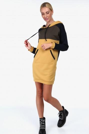 Granatowa sportowa sukienka z kapturem 1979
