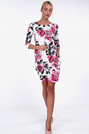 Kremowa sukienka w amarantowe kwiaty na co dzień 4057