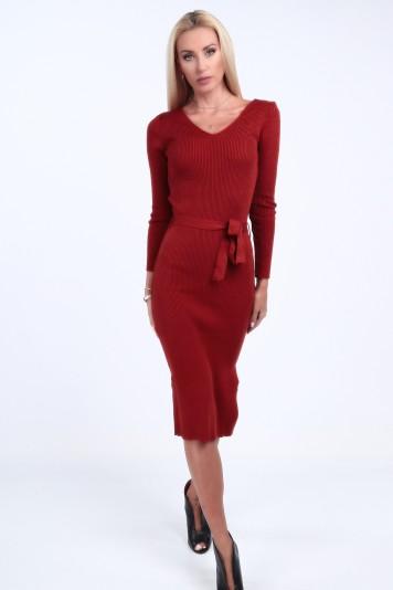 Ruda sukienka swetrowa dopasowana 2007