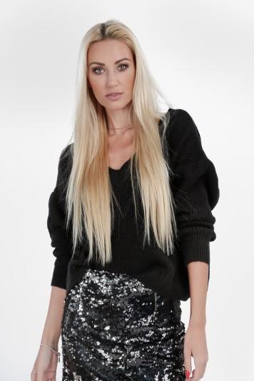 """Czarny luźny sweter z dekoltem """"V"""" 10060"""