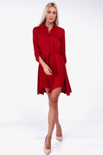 Czerwona sukienka koszulowa na co dzień 19590