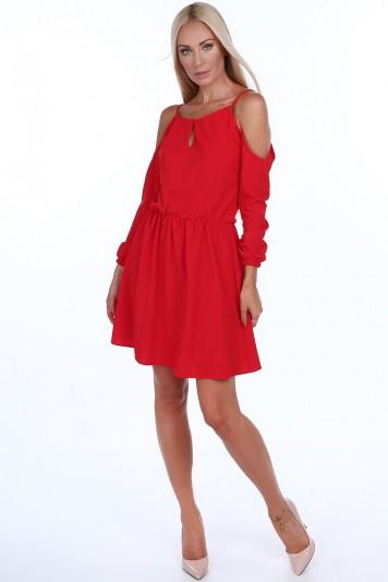 Sukienka z odkrytymi ramionami czerwona 1815