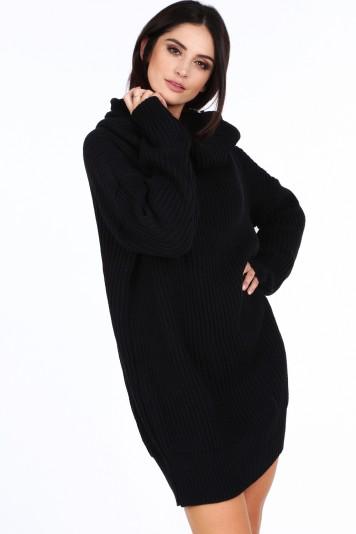 Sweter z golfem oversizowy czarny 0208