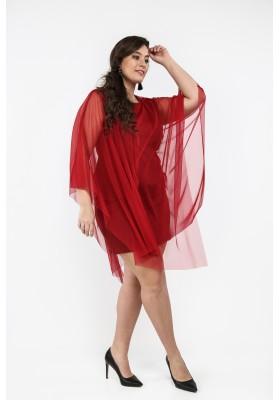 Sukienka Plus Size z tiulową narzutką bordowa B10