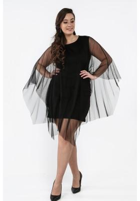 Sukienka Plus Size z tiulową narzutką czarna B10