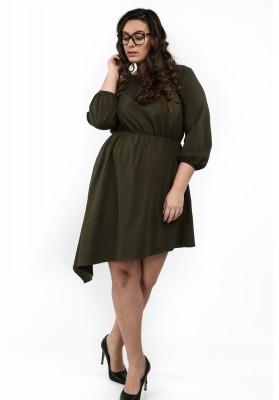 Sukienka asymetryczna w dużych rozmiarach khaki B08