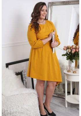 Sukienka asymetryczna w dużych rozmiarach musztardowa B08