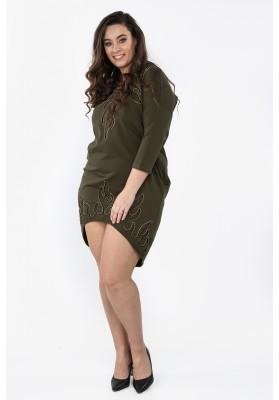 Sukienka Plus Size z aplikacją na co dzień khaki B01