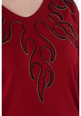 Sukienka Plus Size z aplikacją na co dzień bordowa B01