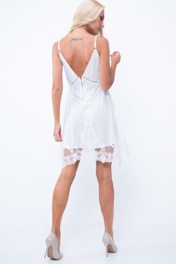 Sukienka koronkowa tiulowa krem ZZ259