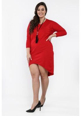 Czerwona sukienka w dużych rozmiarach na co dzień B02