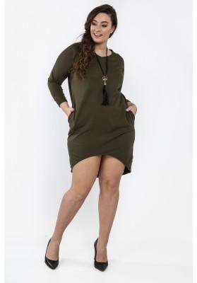 Khaki sukienka w dużych rozmiarach na co dzień B02