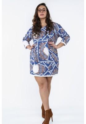 Sukienka Plus Size we wzory na co dzień chabrowa B05