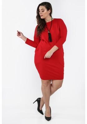 Bawełniana sukienka Plus Size na co dzień czerwona B03
