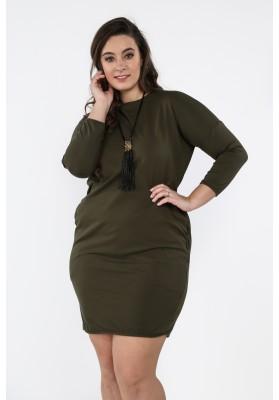 Bawełniana sukienka Plus Size na co dzień khaki B03