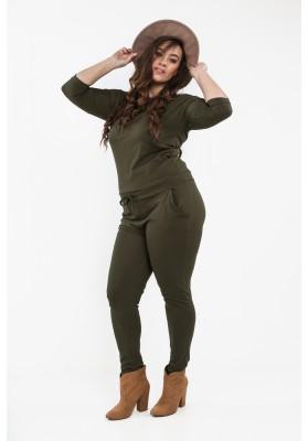 Khaki kombinezon Plus Size z ekspresem na plecach B19