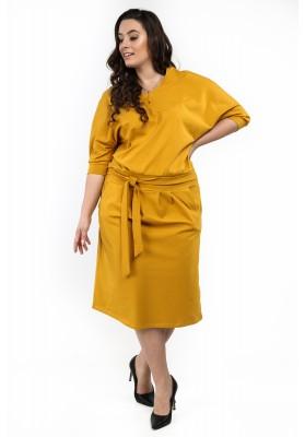 Sukienka w dużych rozmiarach na co dzień musztardowa B18