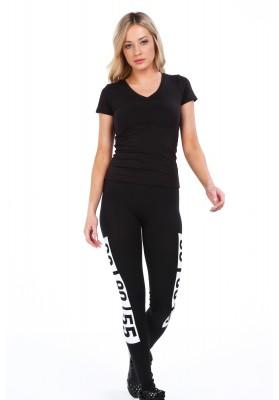Czarne bawełniane legginsy z nadrukiem 9585