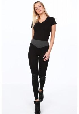Czarne legginsy bawełniane na co dzień 9582