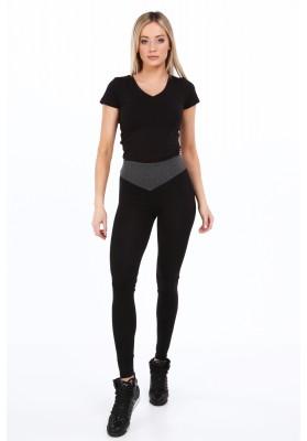 Czarne bawełniane legginsy dopasowane 9583
