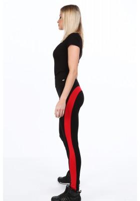 Czarno-czerwone legginsy z napisem na co dzień 9564