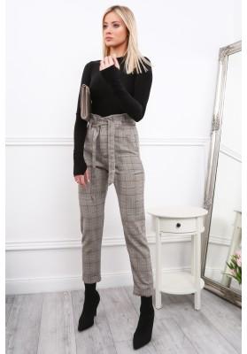 Eleganckie czarno-bordowe spodnie w kratkę 399