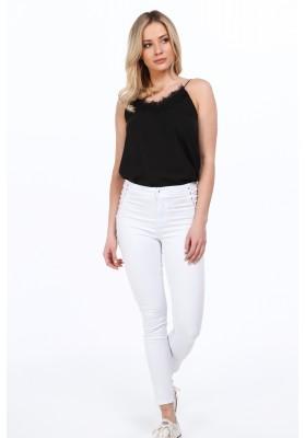 Białe spodnie z ozdobnym wiązaniem po boku dopasowane 7816