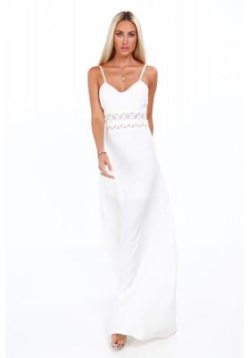 Długa elegancka sukienka na ramiączkach kremowa 9855
