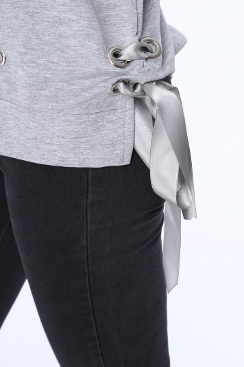 Bluza z nadrukiem jasnoszara 62753