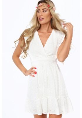 Kremowa ażurowa sukienka z falbaną 99610