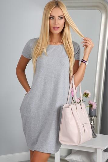 Šaty šedé s krátkým rukávem