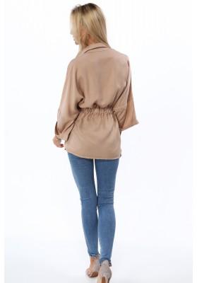 Bavlněné šaty s kapucí a tylními rukávy, khaki