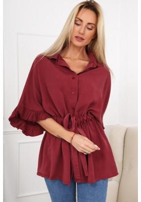 Bavlněné šaty se zipem vpředu a stojanovým límcem na výstřihu, červené