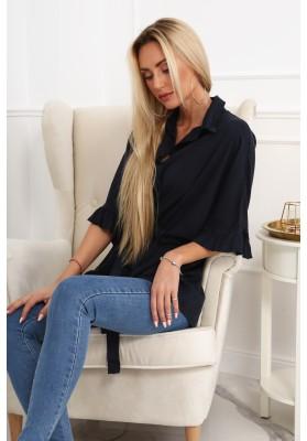 Moderní kalhoty s dekorativními šlemi, pudrové