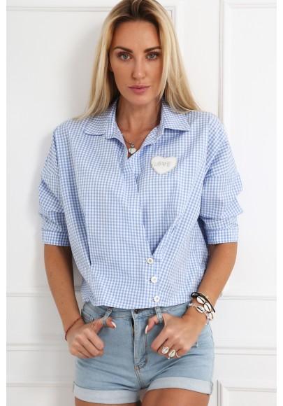 Niebieska koszula w kratkę na co dzień MP26375