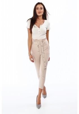 Beżowe eleganckie spodnie z wysokim stanem 0276