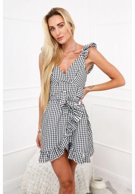 Sukienka w kratkę na ramiączkach czarna 5337