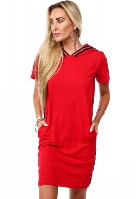 Sukienka bawełniana z lampasami czerwona 38910