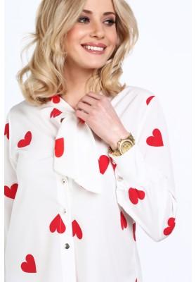 Elegancka koszula w serca kremowa 3769