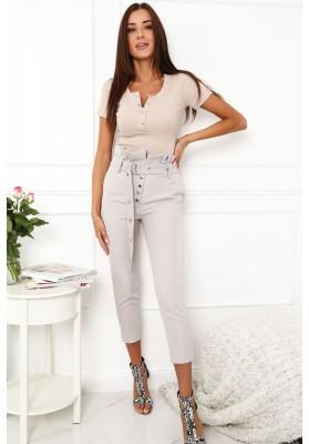 Eleganckie spodnie z wysokim stanem szare 0276