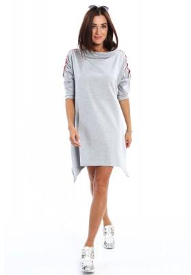 Asymetryczna sukienka z szerokim golfem szara 2149