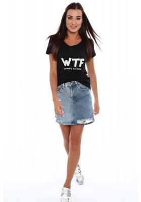 T-shirt z napisami na przodzie czarny 4283