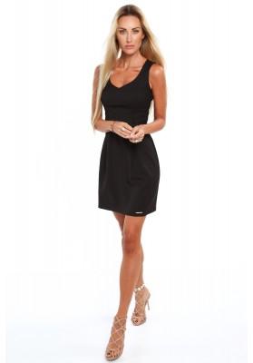 Elegancka sukienka na szerokich ramiączkach czarna 0292