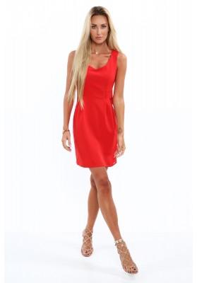 Elegancka sukienka na szerokich ramiączkach czerwona 0292